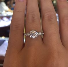 Solitaire engagement ring with side stones #engagementring