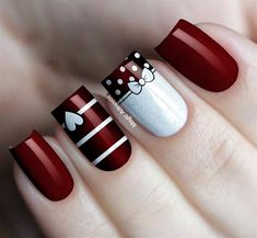99 Stunning Diy Heart Nail Art Ideas For Valentines Day - - Heart nails - Red Nail Art, Pretty Nail Art, Red Nails, Maroon Nails, Heart Nail Art, Heart Nails, Christmas Nail Art Designs, Christmas Nails, Bow Tie Nails