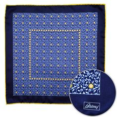 Pair this Brioni handmade blue yellow floral silk pocket square with anything!  |  Have at it! http://www.frieschskys.com/shop-brioni  |  #frieschskys #mensfashion #fashion #mensstyle #style #moda #menswear #dapper #stylish #MadeInItaly #Italy #couture #highfashion #designer #shopping
