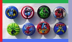 8 SUPERHERO COLOR KNOBS DRESSER DRAWER BOYS KIDS KNOB THIS SET IS READY TO SHIP