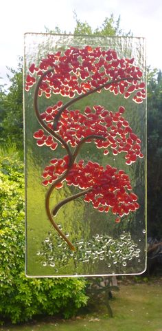 Red Orient Fused Glass Tree Suncatcher. Red Oriental Tree Suncatcher. Fused Glass Art. Wall Art. by Livicraft on Etsy