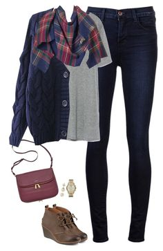 """Knit cardigan, plaid blanket scarf and wedge boots"" by steffiestaffie ❤ liked on Polyvore featuring FOSSIL, J Brand, Zara, Apt. 9, Sperry Top-Sider, Lord & Taylor and Michael Kors"