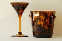 Tortoise Shell Glassware Ice Bucket and Martini Glass #NeimanMarcus