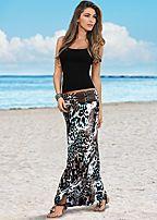 seamless cami, belted print maxi skirt