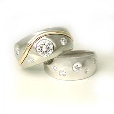 flush mounted diamond ring and a touch of gold accent