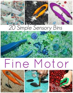 20 Fine Motor Sensory Bins. Keep your little kids active and engaged with these fun motor sensory bins. A list of easy to create sensory bins that will encourage sensory processing. You can create these bins for preschool and kindergarten kids with supplies you have at home. A fun activity for kids who are homeschooled, or home during social distancing.  #easysensorybins #sensoryprocessing #homeschooling