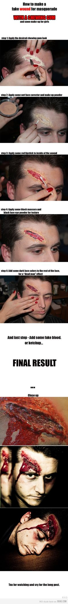 1. Trauma -- Deep Gashes I thought this was a neat way to make fake gashes with chewing gum and ketchup.