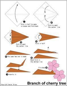 Origami Cherry Tree (Sakura) Origami Branch of cherry tree