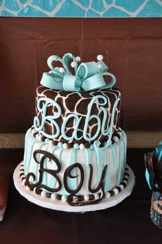 baby boy cake [I love this considering we arent naming him until he's born, and I love giraffe print]