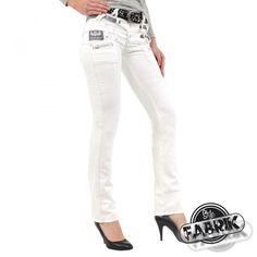 Trendige Jeans für Frauen von Cipo und Baxx Modell CBW 245 in der Farbe weiß mit einem dreifachem Bund und verzierungen #stylefabrik #fashion #jeans #frauen #slimfit #hosen #stylisch #weiß