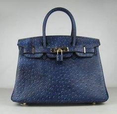 Hermes Birkin bag 30 Blue de presse Dark blue Ostrich Skin Gold hardware