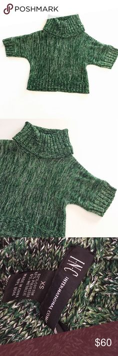 "INC Green Glitter Marled Sweater XS Soft green cropped turtleneck sweater by INC (Macy's).  Size XS.  Armpit to armpit 17.5"" length 18"".  Dry clean only. INC International Concepts Sweaters"