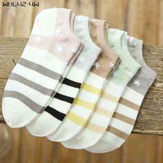 10pieces=5pairs=1lot Cotton Sock Slippers woman pentagram stripe cute socks breathable seamless socks Short ankle crew socks #Affiliate