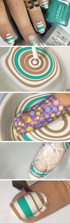 Watermarble Lines | Click Pic for 22 Easy Spring Nail Designs for Short Nails 2016 | DIY Beach Nail Art Ideas for Teens