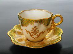 Coalport Cup and Saucer 1890 Teapot Cookies, Turkish Coffee Cups, Yellow Cups, Antique Tea Cups, Tea Art, Tea Service, My Tea, Tea Cup Saucer, Vintage Tea