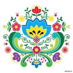 Norwegian Folk Art Bunad Pattern  Rosemaling Style Embroidery Wall Sticker