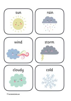 Weather Flashcards An portrait PDF page showing 6 different weather pictures; sun, wind, storm, cloudy, cold and rain. Look out for the other weather resources Early Years (EYFS) and Primary School Printable learning resources for the classroom and home. Weather Activities Preschool, Preschool Learning Activities, Preschool Classroom, Kindergarten Worksheets, Teaching Resources, Preschool Weather Chart, Classroom Labels, Preschool Printables, Learning English For Kids