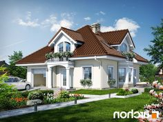 Dom w tymianku 6 Home Fashion, House Plans, House Design, Mansions, Nice, House Styles, Small Houses, Beautiful, Diana