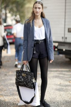 Shorts layered up over tights offer a cool alternative to trousers.
