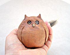 Rustic Minimalist Woodland Owl Stoneware Sculpture, Made to Order. $30.00, via Etsy.