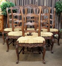 Set of 6 French country style dining chairs with dark walnut stain, rush seats.  New from designer.  #New #RushSeats #FrenchCountry #French #Country #Walnut #Chair #Chairs #ChairSet #DiningChairs #StillGoode #SOLD