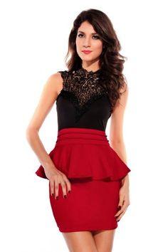 Dear-lover Women's Entrancing Hollow-out Back Peplum Dress - List price: $55.97 Price: $12.39 Saving: $43.58 (78%)  #Dear-lover