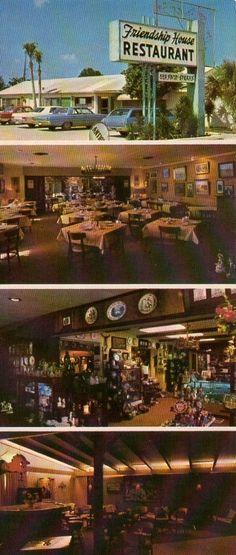 Gulf Shores Alabama Friendship House Restaurant Large Postcard Circa 1960s - 1970s