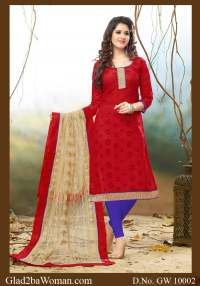 Red and Blue Chanderi Cotton Salwar Dress Material with Cream Embroidered Dupatta