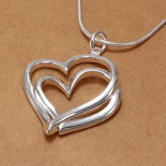 Sale 13% (3.78$) - 925 Silver Plated Sweet Double Heart Pendant Necklace Women Jewelry