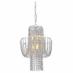 "Chrome-finished chandelier draped with strands of faceted crystals.   Product: ChandelierConstruction Material: Crystal and metalColor: ChromeAccommodates: (6) 40 Watt bulbs - not includedDimensions: 20"" H x 15"" Diameter"