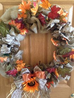 Fall Themed Burlap Wreath. by CrystalzCraftz on Etsy
