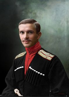 Russian Cossack, a sotnik (a rank equal to a lieutenant in the army) of the Kuban Host, 1915; colourised.