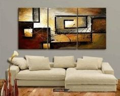 Amazon.com: Abstract Wall Canvas Art Sets Painting for Home Decoration 100% Hand Painted Oil Painting Modern Art Large Canvas Wall Art Stretched and Ready to Hang Free Shipping 3 Piece Canvas Art: Home & Kitchen