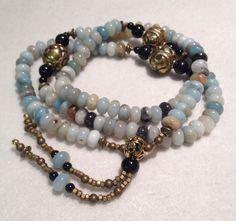 SALE Tibetan Napalese Buddhist 108 Beads Prayer Mala Amazonite Onyx Necklace