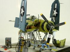 """F4U Corsair on assembly line"" Vought F4U-1A Corsair, TAMIYA 1/48 scale. By Hubert Ortinger. #diorama"