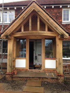 Image result for oak frame porches Porch Timber, Porch Overhang, Ceiling Beams, Ceilings, Barndominium, Exterior Design, Home Remodeling, Belize, House Plans