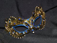 Masquerade Mask Metal Mask with Blue by TheCraftyChemist07