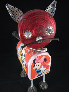 Red Cat Bot found object robot sculpture assemblage by by ckudja