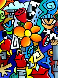 """Abstract Art Painting """"Biomechanical Love"""" by T. Fedro"""