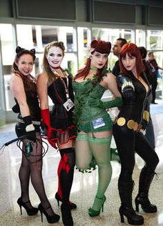Catwomen, Harley Quinn, Poison Ivy, and Black Widow. So awesome. Need friends to do this with me lol