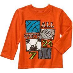 Garanimals Baby Toddler Boys' Long Sleeve Graphic Tee Shirt, Toddler Boy's, Size: 3 Years, Orange