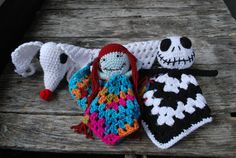 Items similar to Nightmare before christmas doll/jack skellington crochet/fandom/ amigurumi/jack/ zero/ sally/ baby blanket/ doll/ on Etsy Crochet Lovey, Manta Crochet, Crochet Dolls, Crochet Security Blanket, Crochet Crafts, Yarn Crafts, Crochet Projects, Halloween Crochet, Baby Halloween