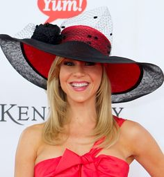 Sportin red at the Derby.  Love the extra brim for added sun protection.  Mole Detective (www.moledetective.com) approved.