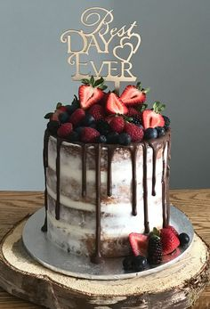 Fresh Fruit Berries Drip Wedding Cake
