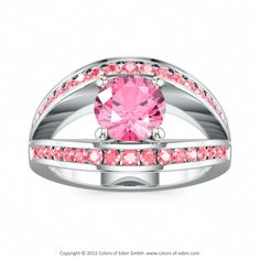 EUPHORIA   Classical Engagement Ring with Swarovski Brilliance Cubic Zirconia Pink and Swarovski Brilliance Cubic Zirconia Fancy Pink in Platinum and 18k White Gold