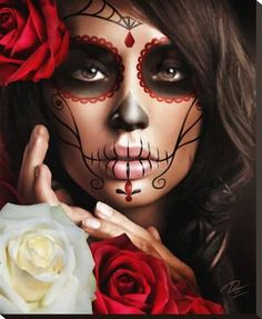 Raquel Art Print by Artist Daniel Esparza - The Atomic Boutique (Halloween Makeup Catrina) Halloween Makeup Skull, Halloween Party, Halloween Costumes, Candy Skull Makeup, Halloween Stuff, Skeleton Makeup, Skeleton Costumes, Face Paint For Halloween, Easy Halloween