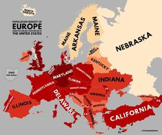 A population density of Europe named for similarly dense regions of the United States. Population density of the United States European Map, World Data, Europe Photos, Global Economy, Historical Maps, Plans, Nebraska, Thought Provoking, American History