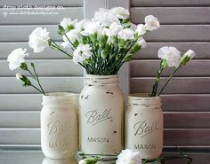 mason jars painted with anne sloane chalk paint http://www.itallstartedwithpaint.com