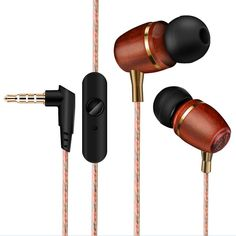 Techase Headset Wooden Headphones Wired Control Fone De Ouvido With Microphone Earphone Compatible For Phones Tablet Player Sports Headphones, Wireless Headphones, In Ear Headphones, Cheap Birthday Gifts, Smartphone Features, Cable, Headphone With Mic, Selling On Pinterest, Wooden Hearts