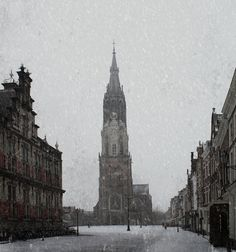 https://flic.kr/p/QZg7EZ | Delft in the snow | an old one from a snow storm on the Markt in Delft on the left is the city hall, in the middle the Nieuwe Kerk (New Church).  The church is not new (building started in 1381) but there was already a church that is now called the Oude Kerk (Old Church) which dates from 1246.  with textures of my own and of Jerry Jones